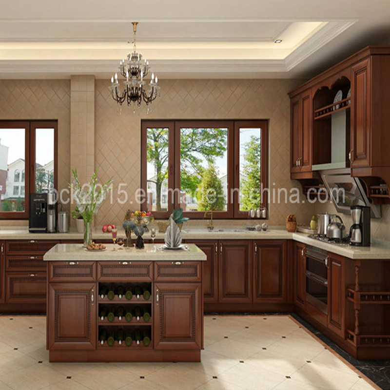 Hot Sell Bck American Style Red Cherry Solid Wood Frame Kitchen Cabinets