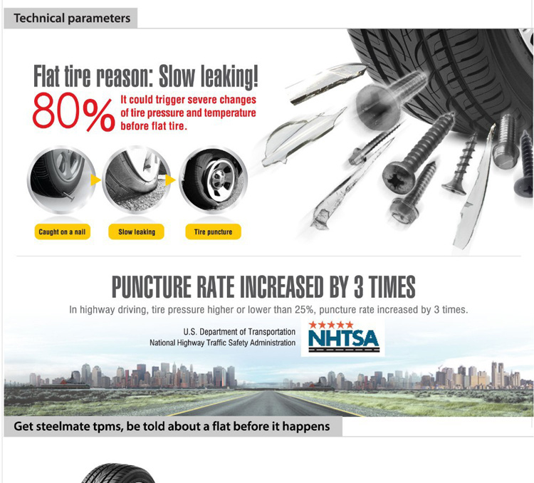 Wireless LCD Solar Power Tire Pressure Monitoring System External TPMS