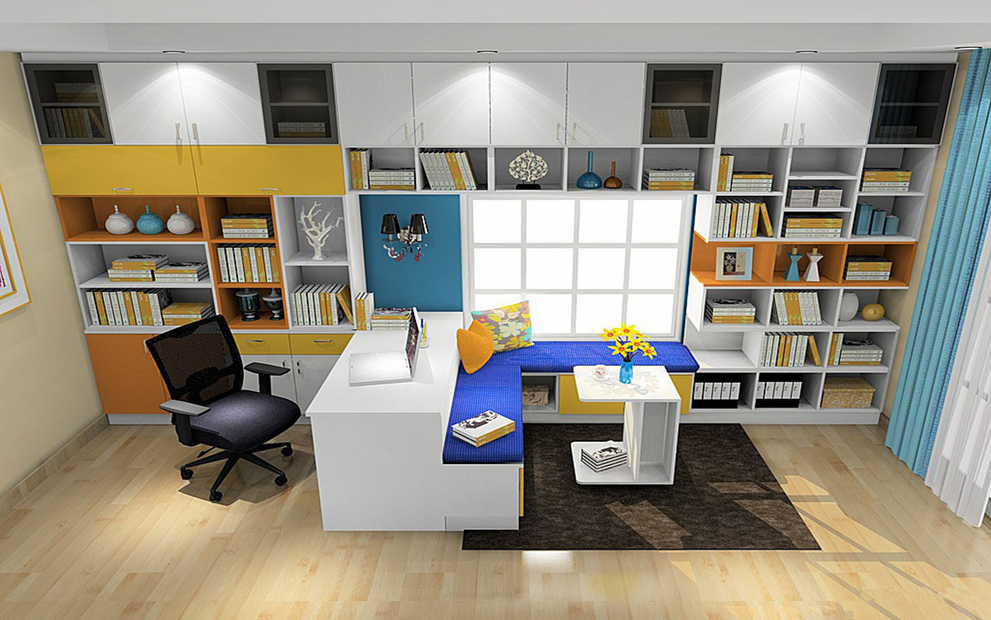 Pritical White Color Book Case Study Room Furniture (zj-005)