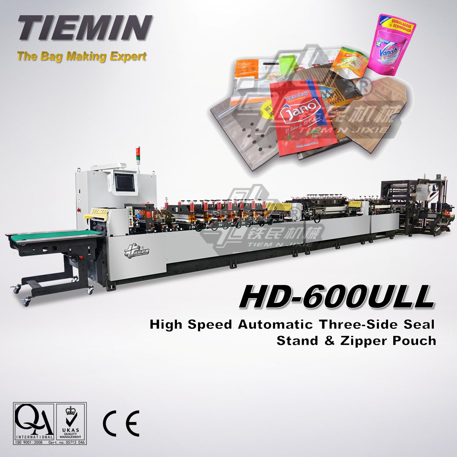 Tiemin High Speed Automatic Three Side Seal Stand and Zipper Bag & Pouch Making Machine Machine HD-600ull