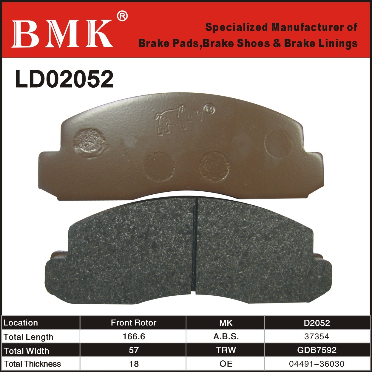 Stable and Adanced Quality Brake Pad (D2052) for Toyota