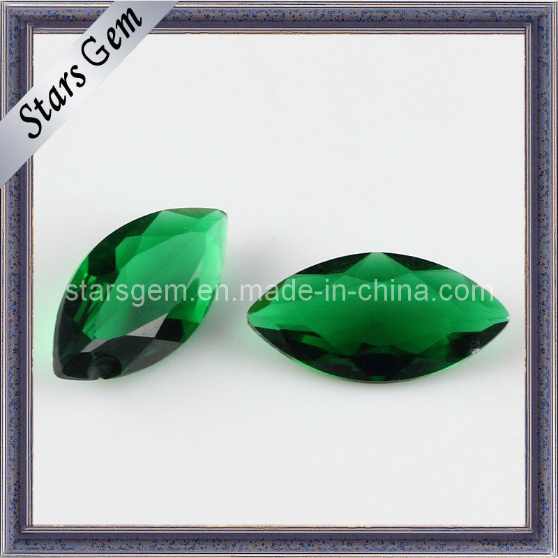 Emerald Color Marquise Shape Glass Beads