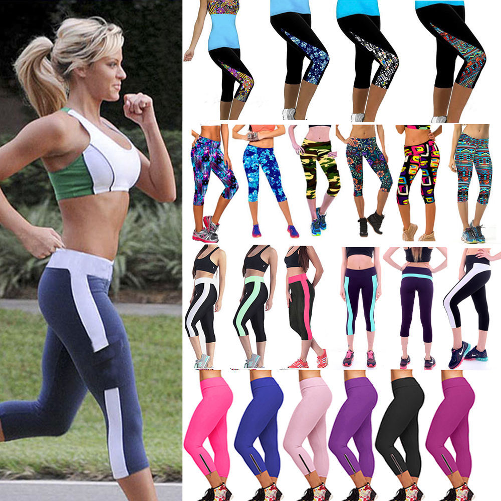 Womens Exercise Leggings Running Yoga Sports Fitness Gym Stretch Cropped Pants