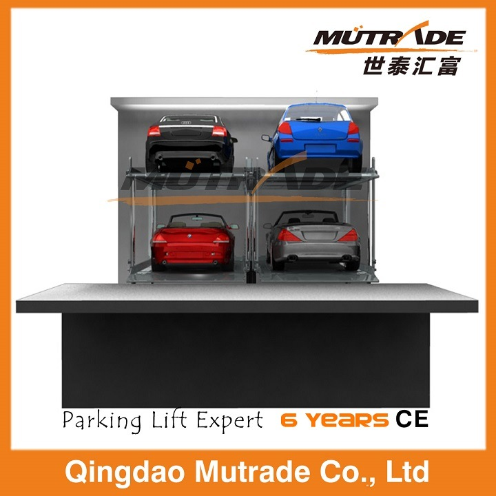 Two Post Hydraulic Underground Vertical Stacker Lift for Home Garage