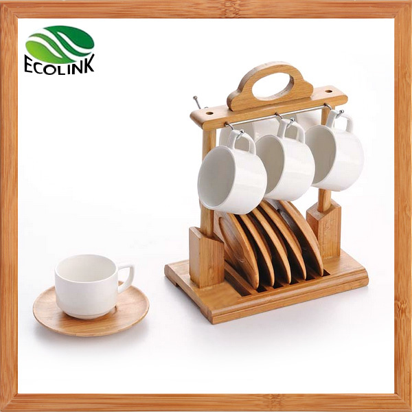 Ceramic Coffee Cup with Bamboo Coaster Set