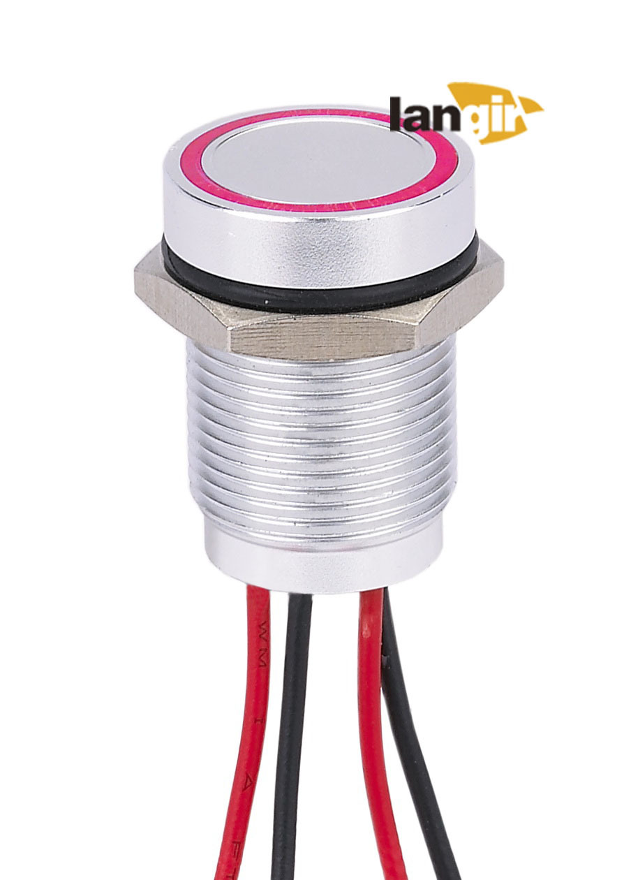 Langir 16mm Piezo Switch with Red Ring Illuminated (PZA16) Flat Height 4.5mm