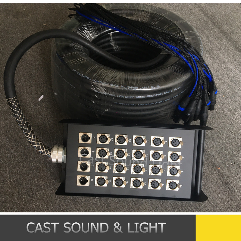 Custom 24 Channel XLR Audio Snake Cable with Stage Box