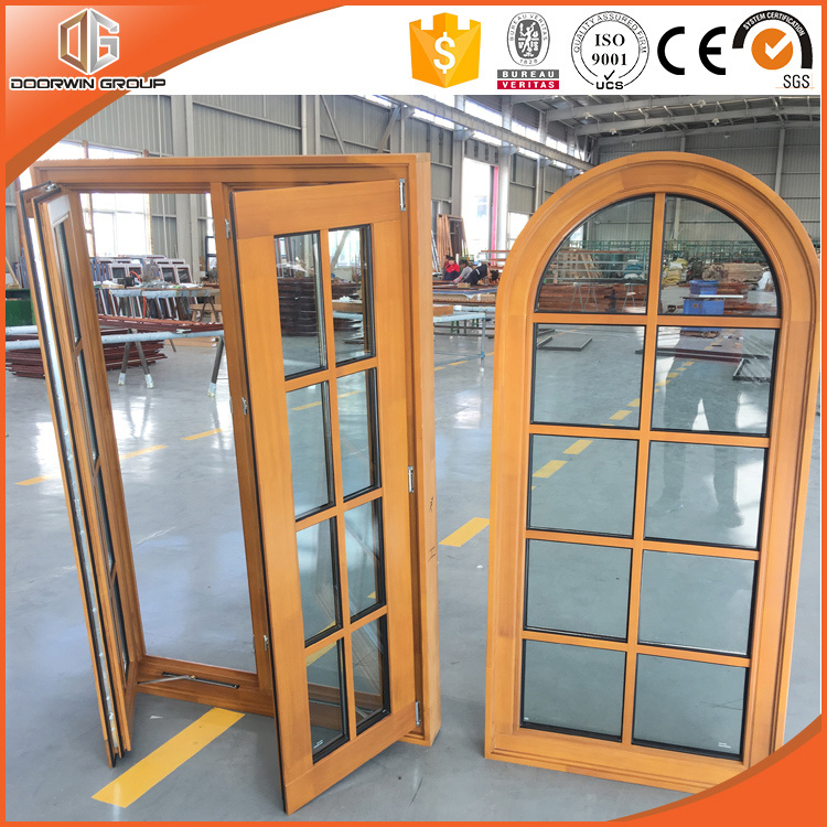 Grille Round-Top Casement Window Solid Pine Wood Larch Wood Window, Ultra-Large Full Divide Light Grille Windows