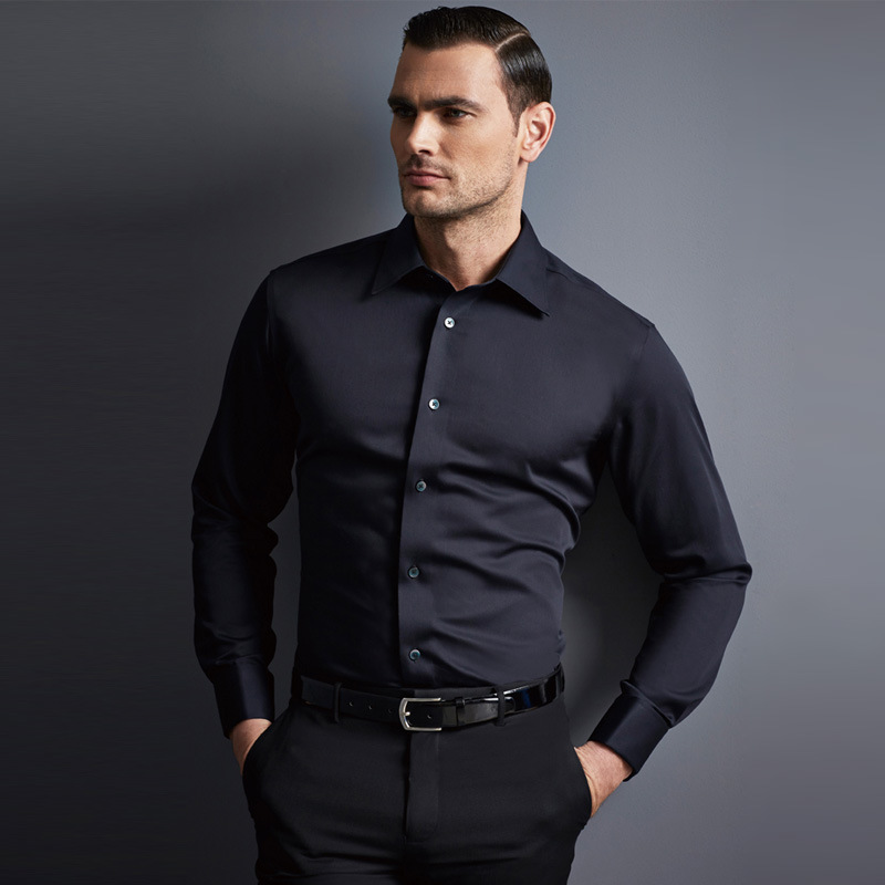 Black shirt mens slim fit custom shirt for Men slim fit shirts