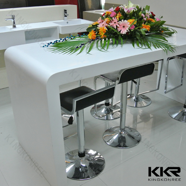 White Artificial Marble Resin Stone Long Bar Table