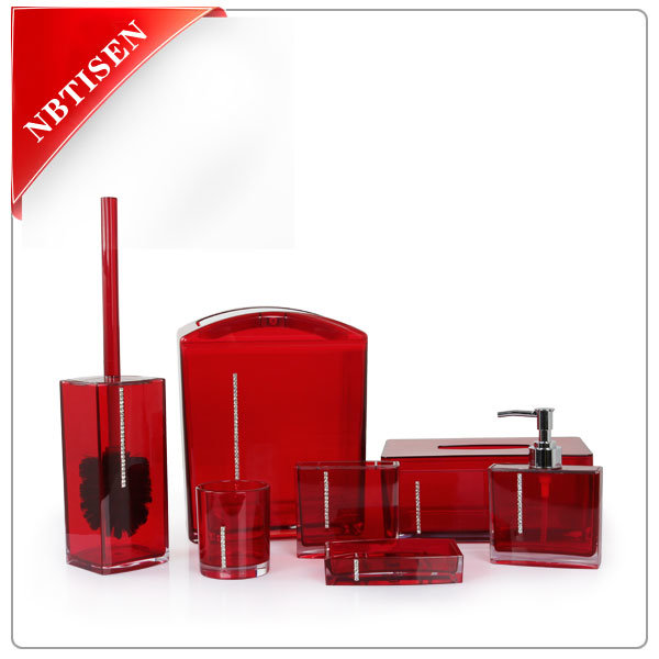 Acrylic/Plastic Crystal Bathroom Accessories Set (TS8002-7)