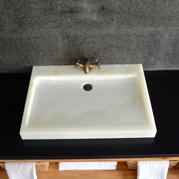 Solid Stone White Onyx Vessel Sinks for Bathroom
