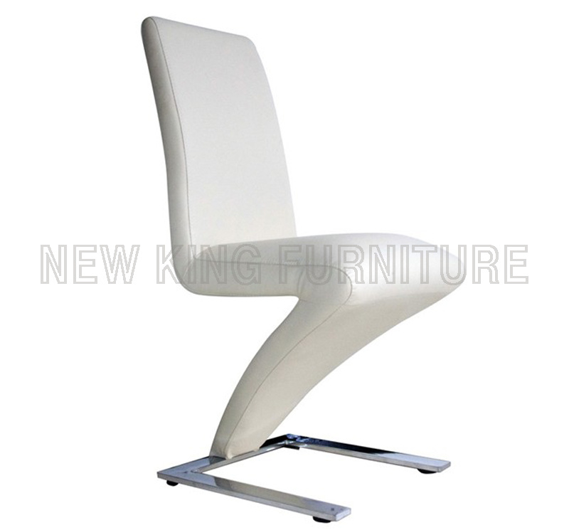 Modern Dining Furniture White Crocodile Leather Z Shape Dining Chair (NK-DC005)