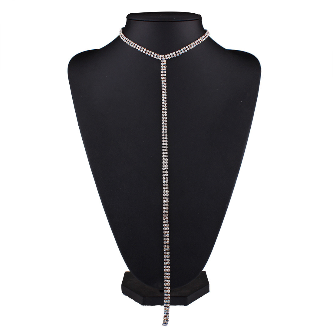 Long Sweater Chain Necklace Fashion Luxury Rhinestone Diamond Choker Necklace Jewelry