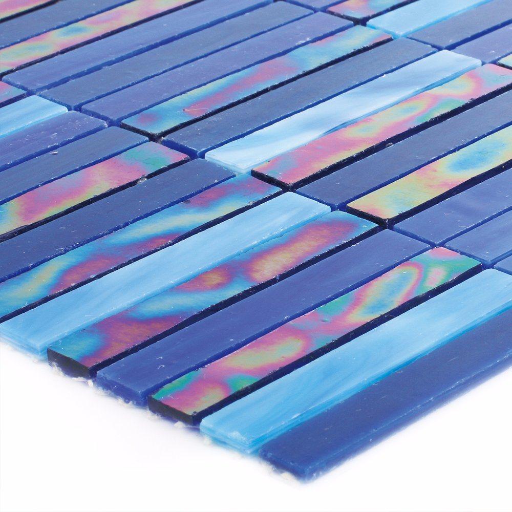 Building Manufacturers Hand Cutting Bathroom Blue Tile Glass Mosaic