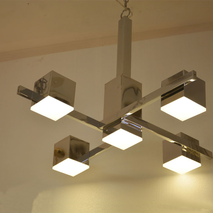 Modern Square Chrome LED Chandelier Pendant Lighting for Hotel