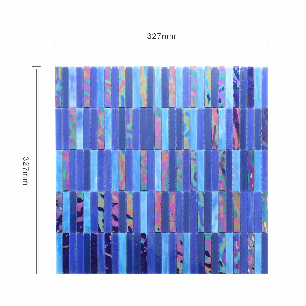 Building Manufacturers Hand Cutting Bathroom Blue Tile Glass Mosaic