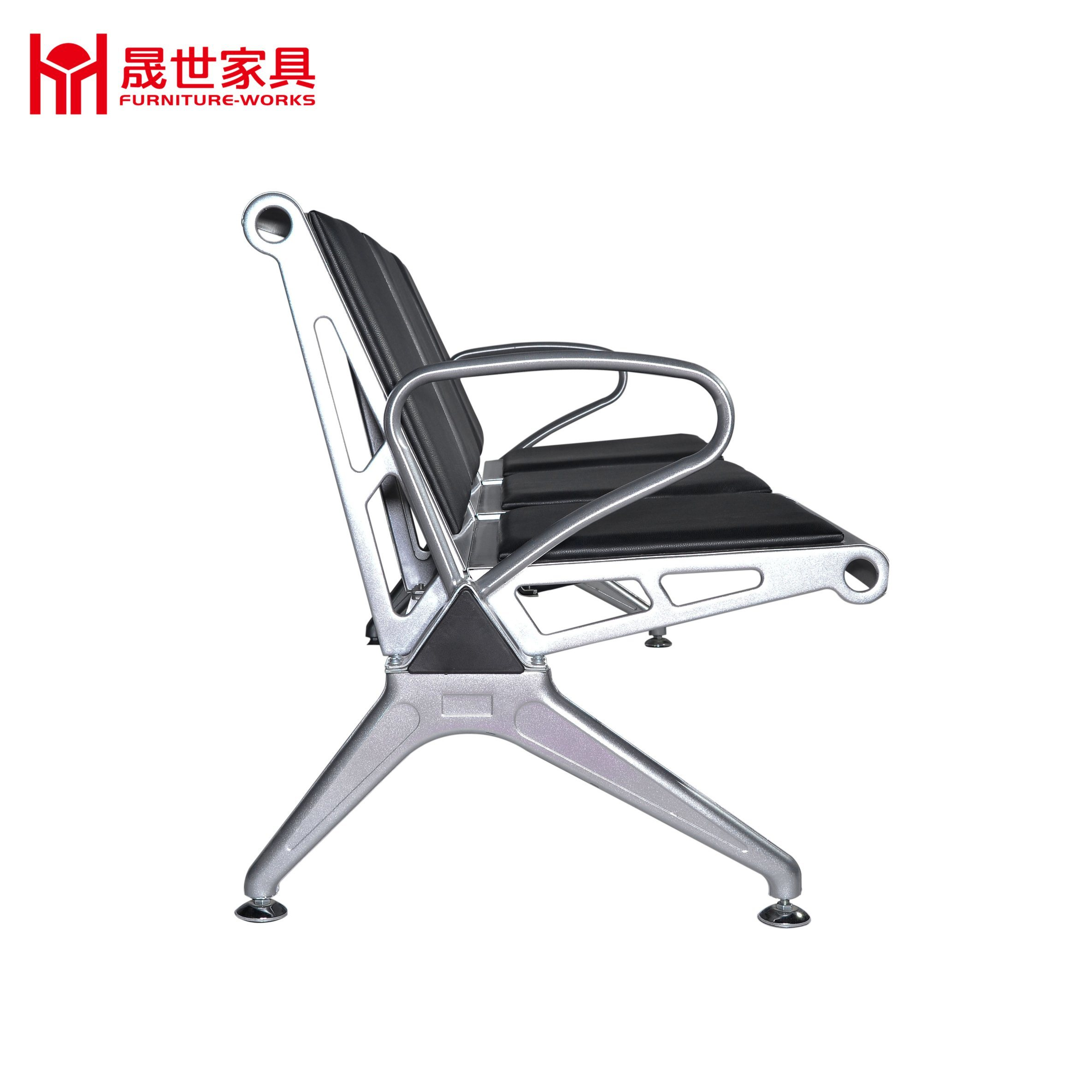 Cheap Price Hospital Armless Chair/Salon Reception Chairs 2.3.4.5-Seater Metal Steel Waiting Chair with Color PU Cushion
