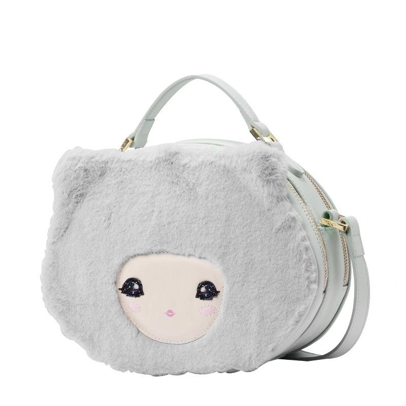 Grey Cartoon Doll Double Zippers Crossbody Bag