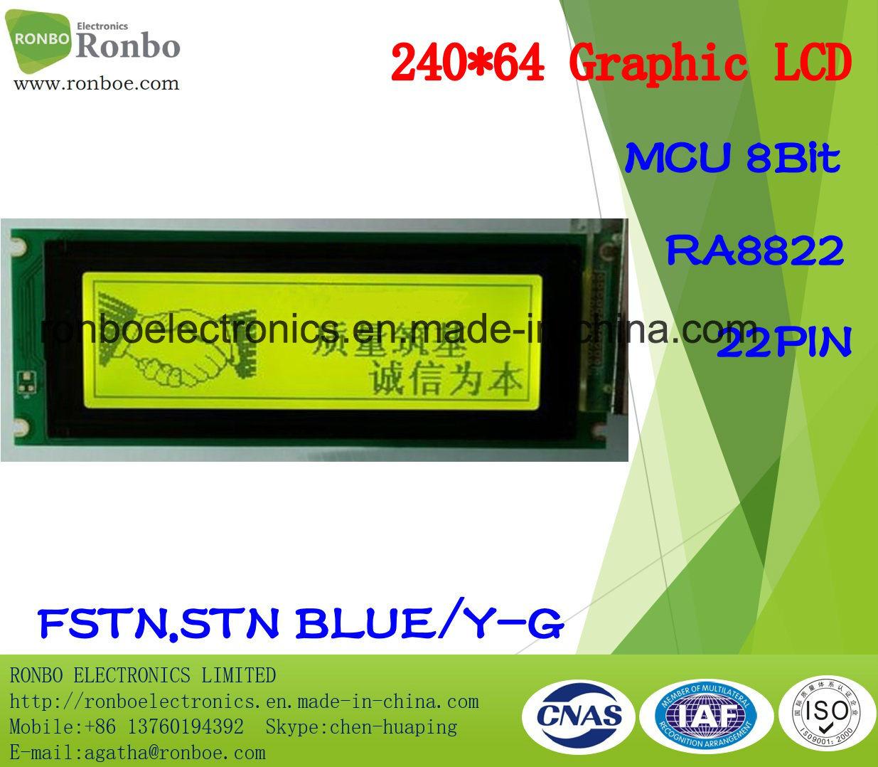240X64 Graphic LCD Panel, MCU 8bit, Ra8822, 22pin, COB FSTN LCD Module