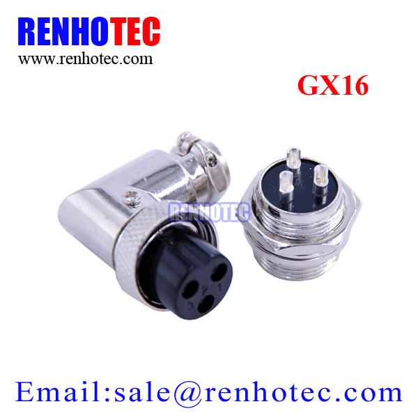 90 Degree Gx16 3 Pin Metal Circular Connector Plug Socket Aviation Connector