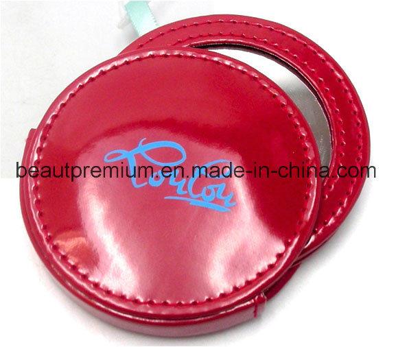 Plastic Red Round Single Side Silk Screen Logo Printing Make up Mirror BPS074