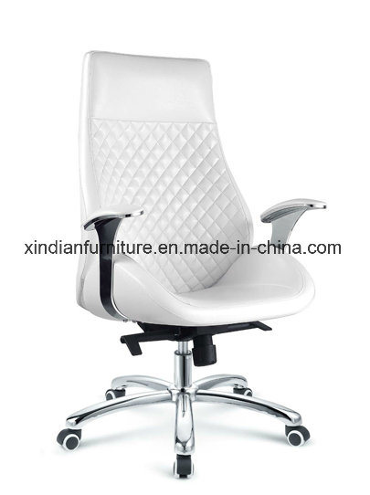 White Modern Metal Leather Chair for Office Used