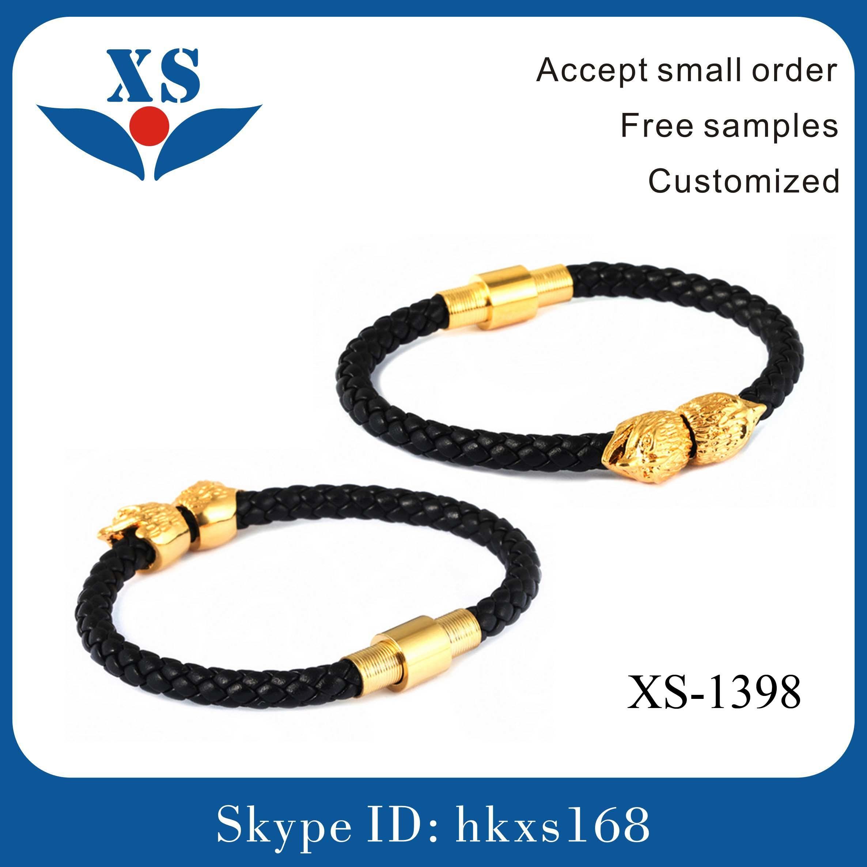 Fashion Leather Handmade Jewelry with Skull Bead