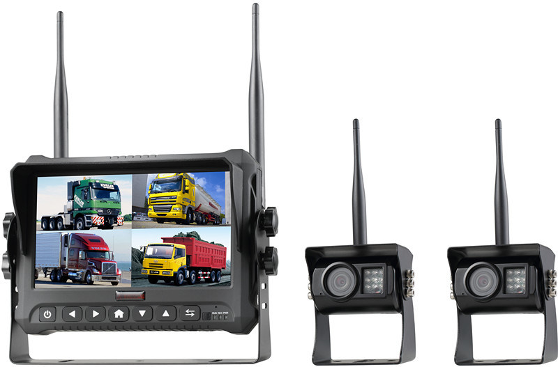 7-Inch 4CH Digital Recording Monitor Wireless Rear View Camera for Trucks, Farm Tractor, Cultivator, Trailer, Buses