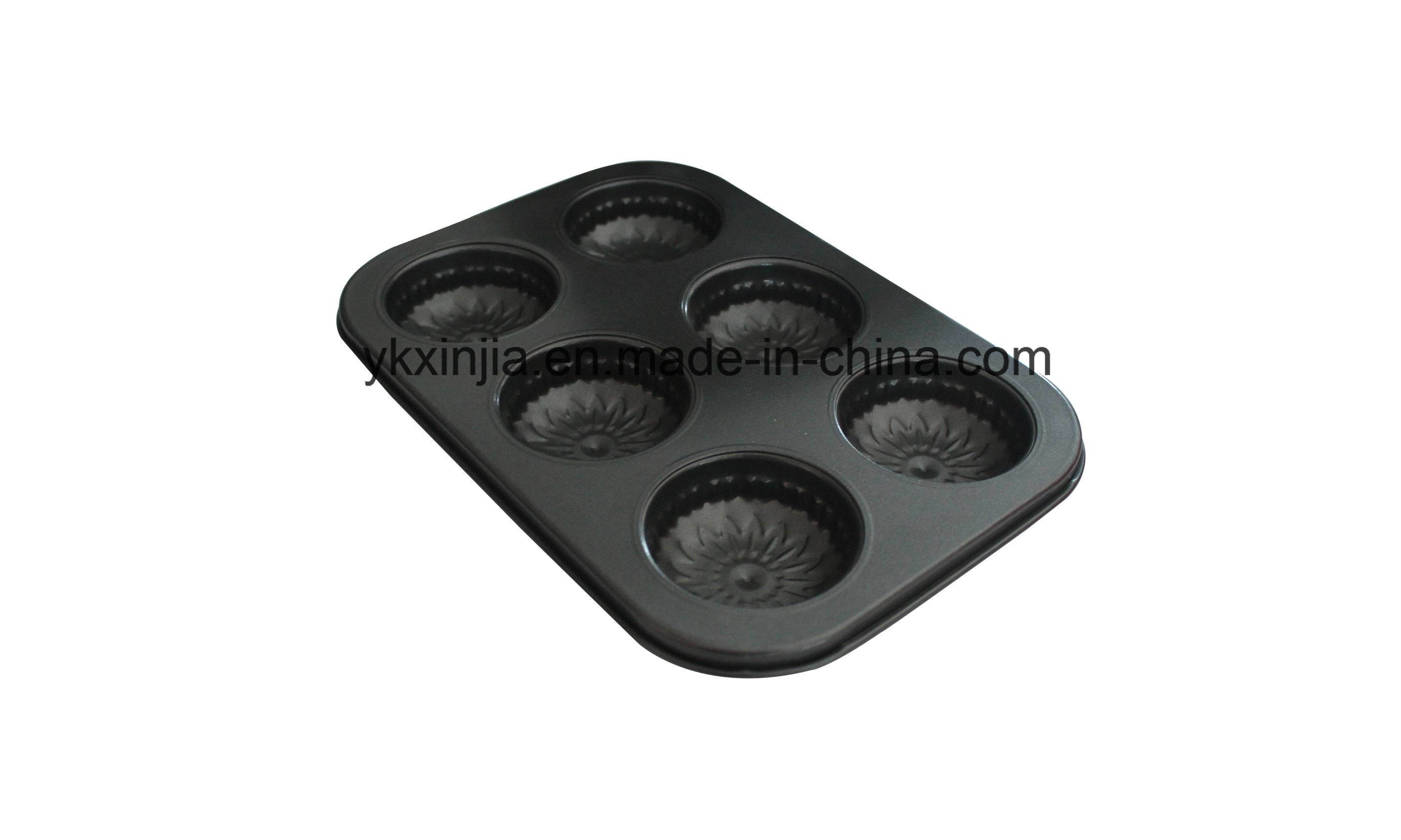 Carbon Steel Does Notstick Flower Pattern 6 Cup Cake Mold