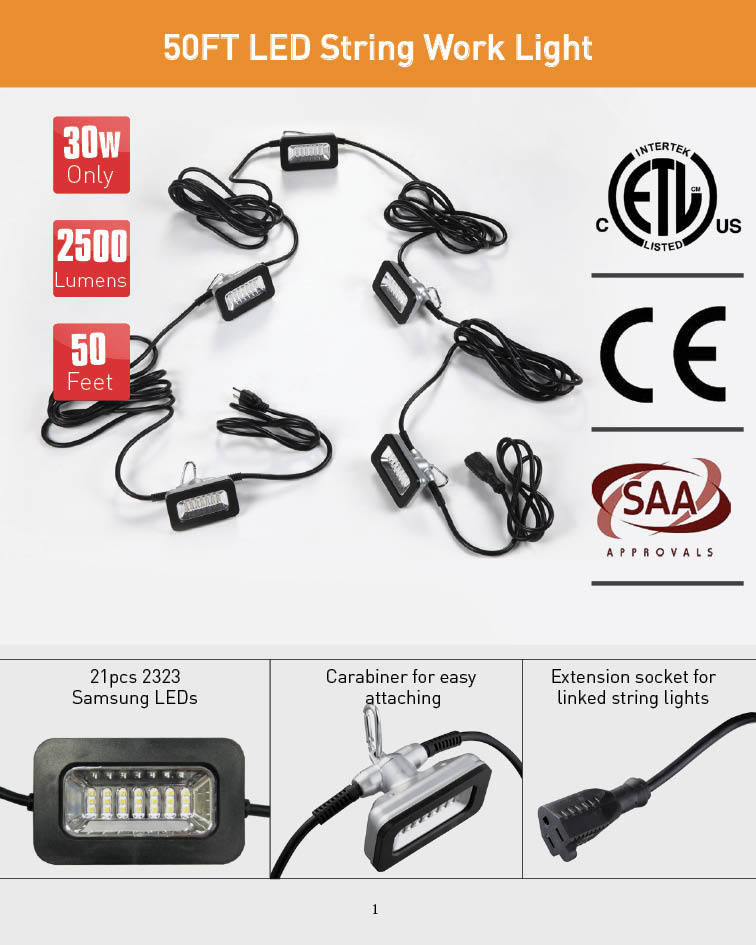 SAA/Ce/ETL 50FT LED String Work Light