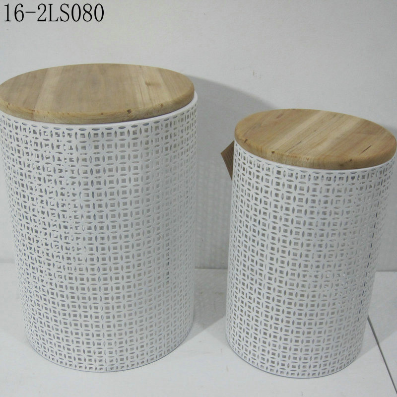 Three Shapes and Colors with Wooden Top of Metal Crates