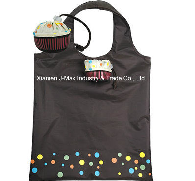 Promotional Colorful Foldable Reusable Lightweight Handy Fancy Shopping Tote Cupcake Style Polyester Tote Bags