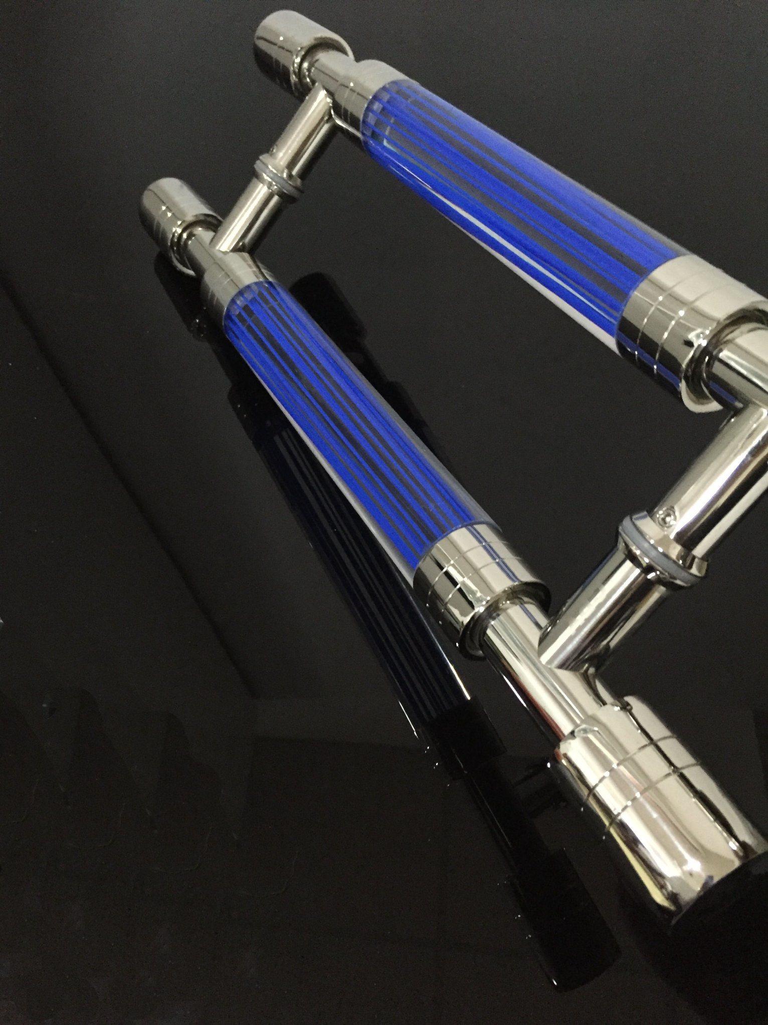 Stainless Steel + Crystal Acrylic Door Handle Glass Door Hinge