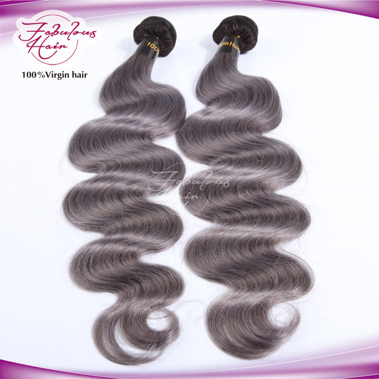 Ombre Color Natural Brazilian Color 1b/Grey Human Hair