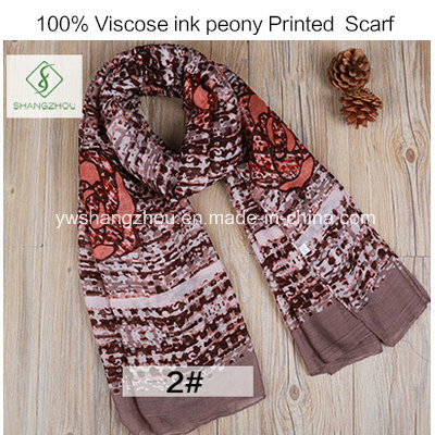 2017 Newest Fashion Lady Viscose Scarf with Flower Printed Shawl