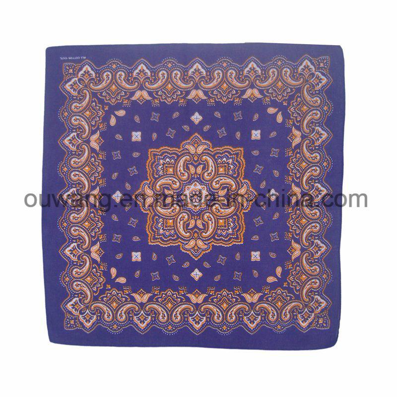Custom Multifunctional Fishing Mask Promotional Square Bandana Paisley Cotton Printed Handkerchief