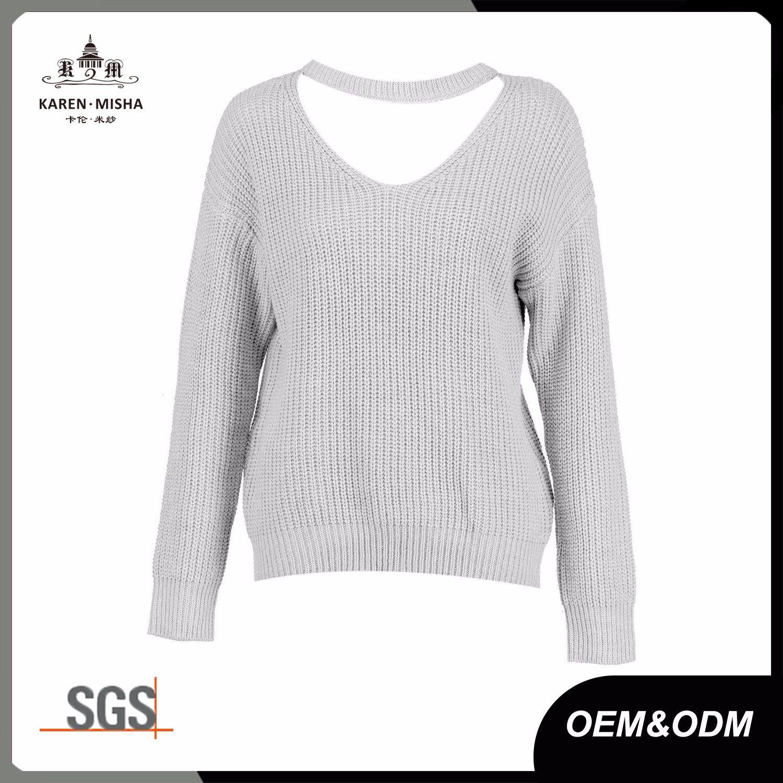 Ladies Long Sleeve Ribbed Choker V Neck Jumper Sweater
