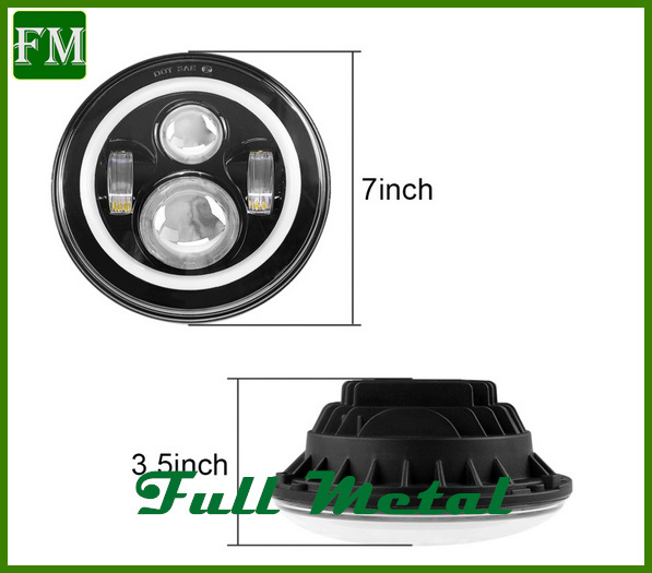 7′′ LED Headlight with RGB Angel Eye for Jeep Car
