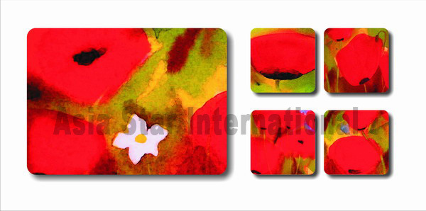 Square Flower Printin Cork Coaster for Gift (CC19)