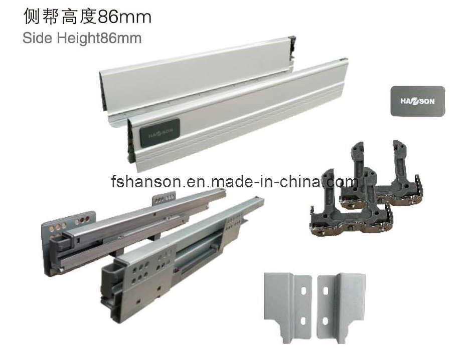 China Furniture Hardware Drawer Slide System China Soft Self Closing 3 Fold Full