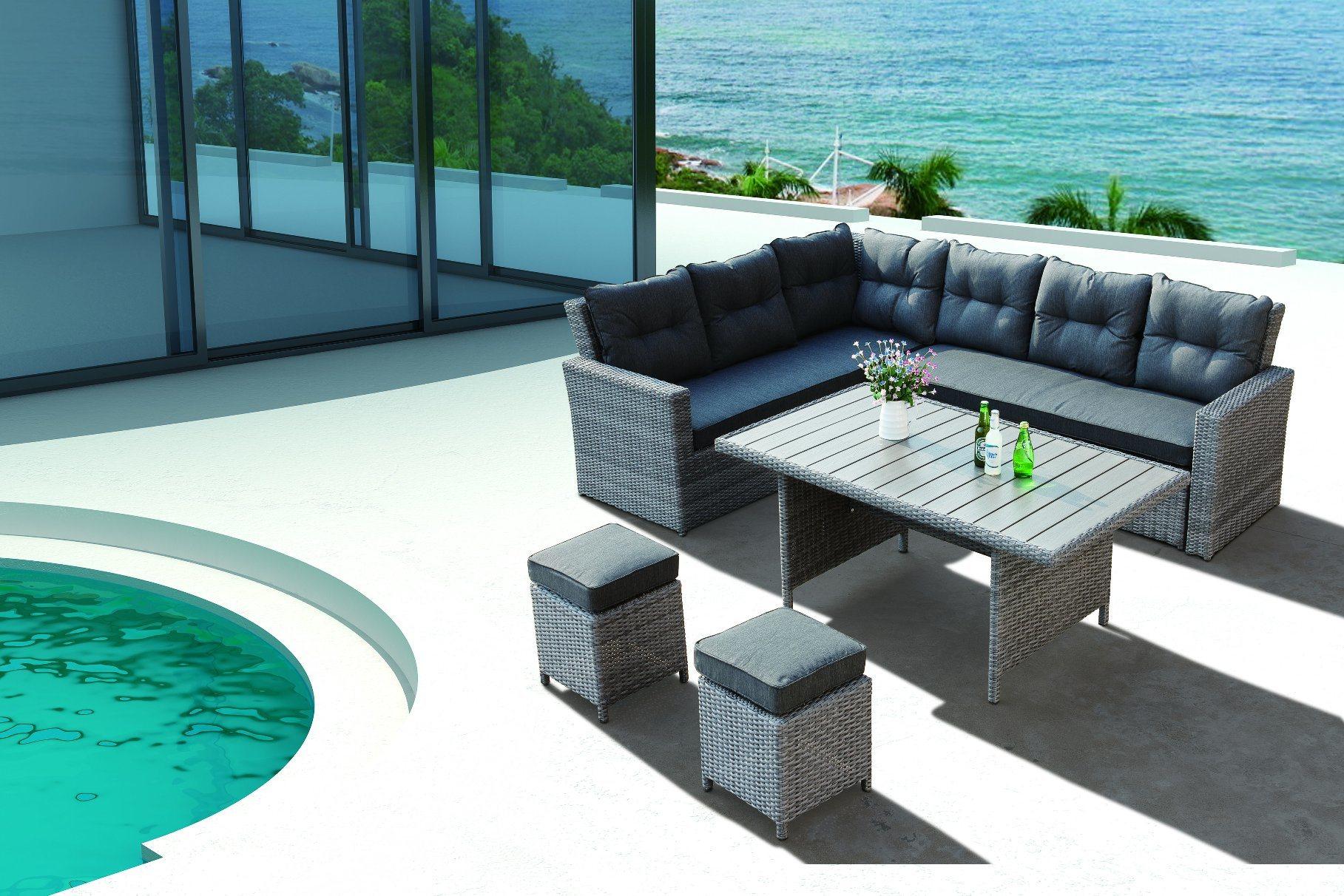 Wicker Rattan Patio Garden Outdoor Sofa Set Virgina Home Hotel Offce Sofa (J545-POL)