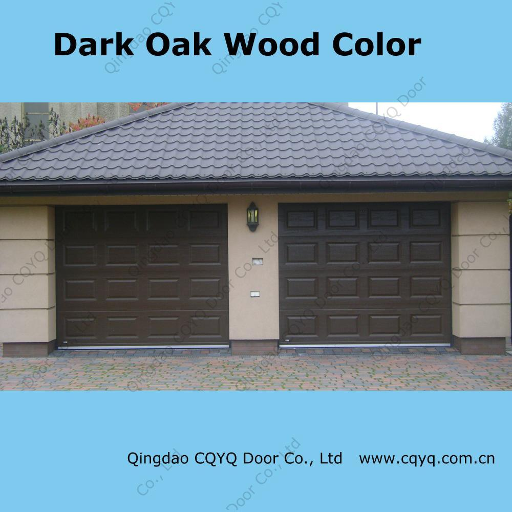 China dark oak color garage door china garage door for Garage door colors