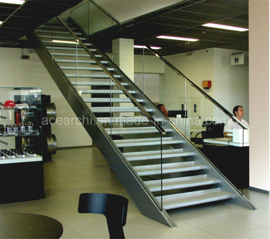 Glass Straight Staircase with Laminated Tempered Glass Tread/Oak Tread