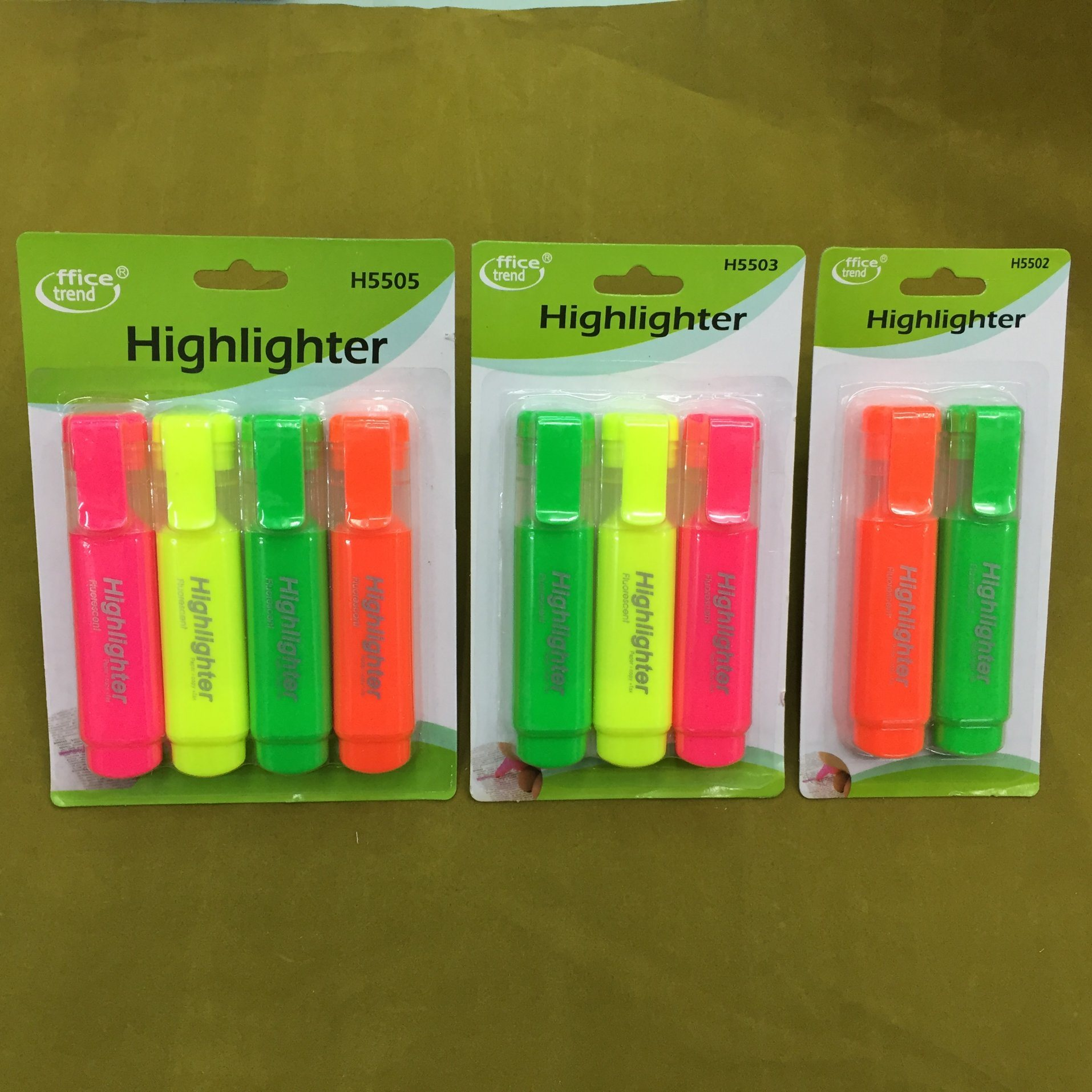4 Colors Highlighter Marker Pen with Card Packing, Fluorescent Pen