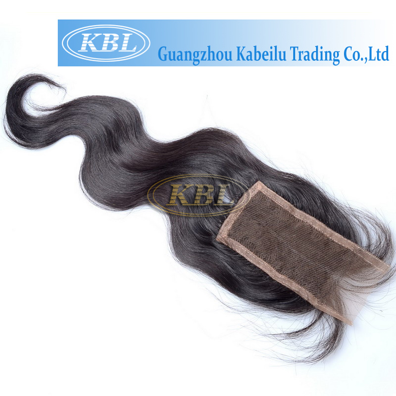 High Quality Brazilian Grey Hair Weave Clip in Top Closure
