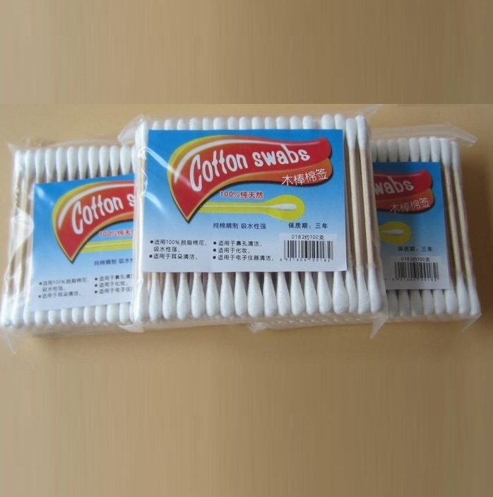 Disposable Wooden Stick Double Head Cotton Buds Swabs