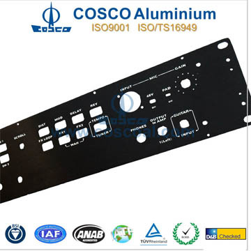 Black Anodizing Aluminum/Aluminium Front Panel with CNC Machined