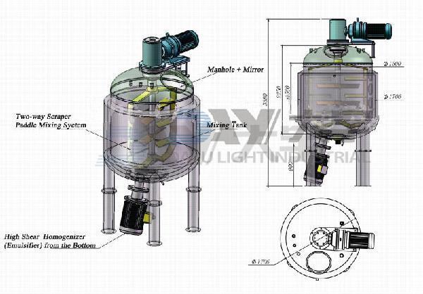 Vacuum Emulsifying Mixer Machine for Mixing Cosmetic Pharmaceutical Cream