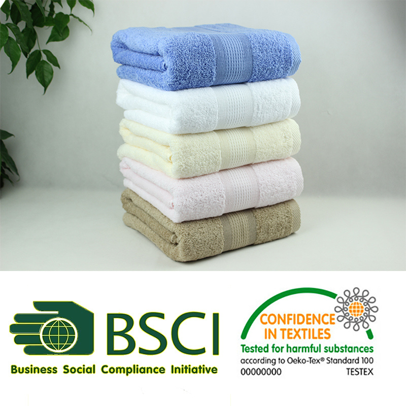 100% Combed Cotton Dobby Plain Dyed Bath Towel with Stock